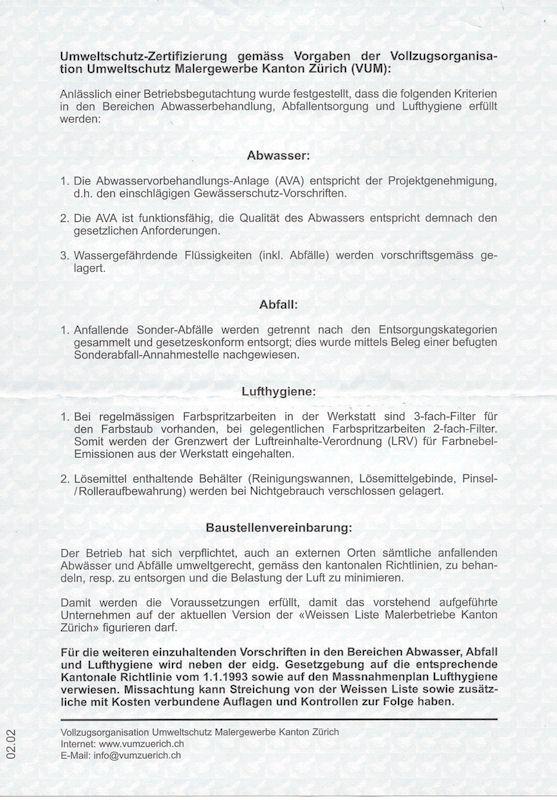 UMWELTSCHUTZ-ZERTIFIKAT, Umweltschutz, Abwasserverordnung ...